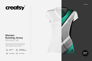 Women Running Jersey Mockup Set