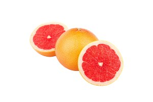 Whole and a half of Grapefruit, isolated