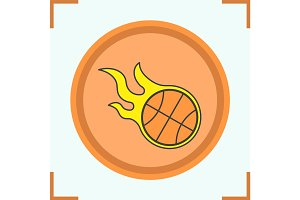 Burning basketball ball color icon