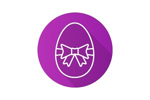 Easter egg flat linear long shadow icon