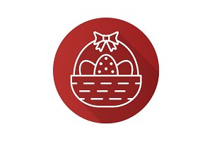 Easter basket flat linear long shadow icon