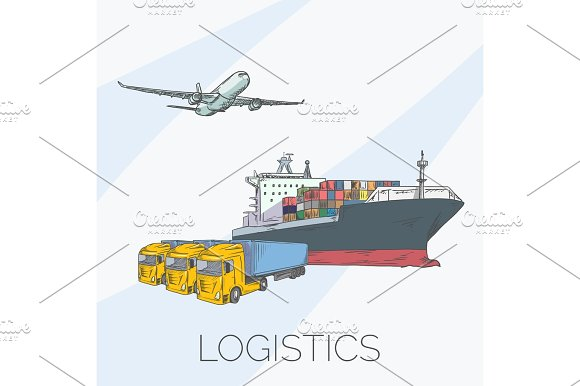 Logistics Sign With Plane Truck Container And Ship