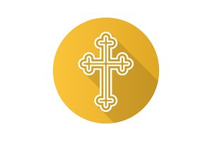 Christian crucifix flat linear long shadow icon