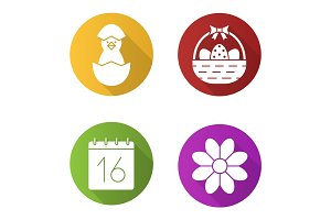 Easter flat design long shadow icons set
