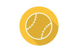 Baseball ball flat linear long shadow icon