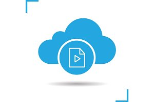 Cloud storage media file icon