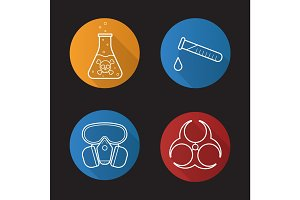 Chemical industry flat linear long shadow icons set