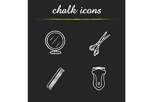 Barbershop accessories chalk icons set