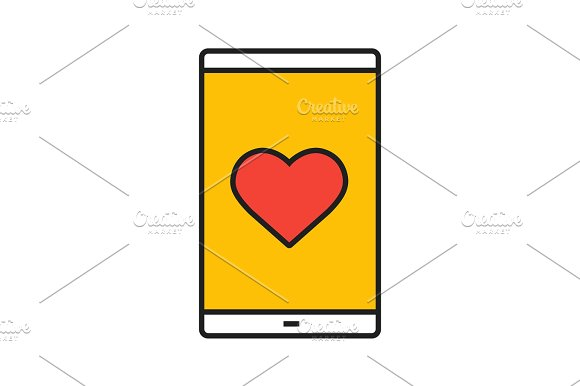 Smartphone Dating App Color Icon