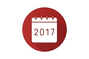 New Year 2017 calendar. Flat design long shadow icon