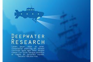 Blurred underwater background with submarine silhouette