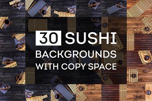 Sushi backgrounds with copy space