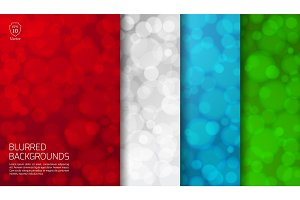 Set of colored blurred backgrounds with twinkly lights