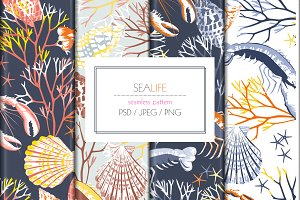 Seamless SeaLife Print Design