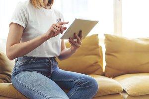 Freelancer using digital tablet