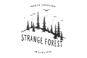 Graphic label with forest