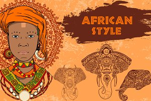 Vector set in the African style