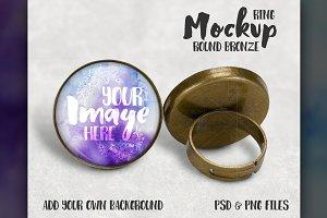 Round Bronze Ring Mockup