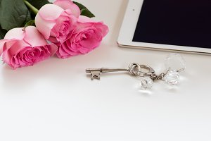 Styled stock tablet and key chain