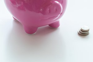Styled stock pink piggy bank