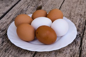 Chicken eggs on a plate