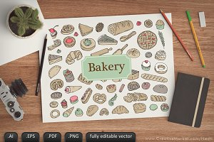 Bakery Pastry Doodle Icon Vector