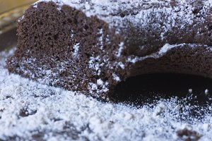 Homemade chocolate cake.