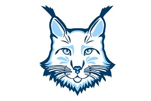 Lynx mascot logo. Head of lynx isolated vector illustration