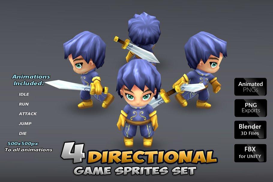 4- Directional Game Sprites ~ Illustrations ~ Creative Market