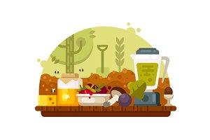 Organic food vegetables fruits