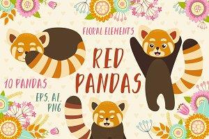 Red pandas set