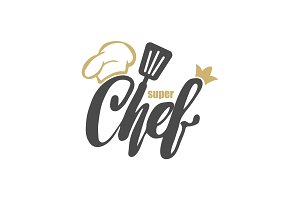 Chef logo. Lettering Hand lettering with a cap chef. Symbol icon logo design.