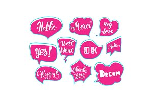 Vector set of comic speech bubbles. Hand drawn set of comic quotes balloons with text.