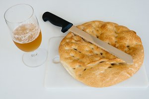 Beer, bread and knife