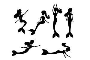Set of mermaids black silhouette