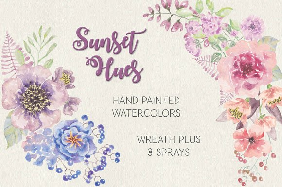 Watercolor Wreath In Sunset Hues