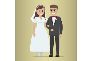 Wedding Day Web Banner. Newlyweds Couple Design