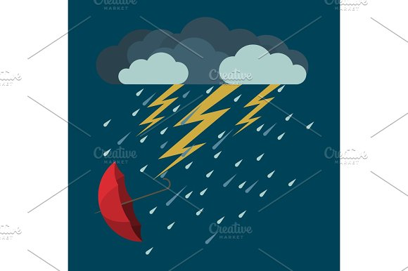 Lightning And Heavy Rain Falling Umbrella From Clouds