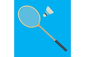 Badminton racket and white shuttlecock with black line.