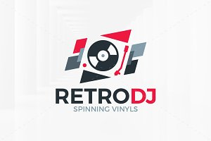Retro DJ Logo Template