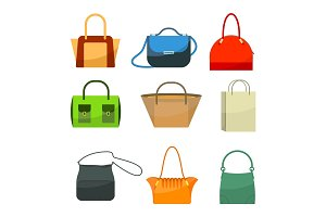 Ladies bags icons flat design isolated on white. Colorful accessories