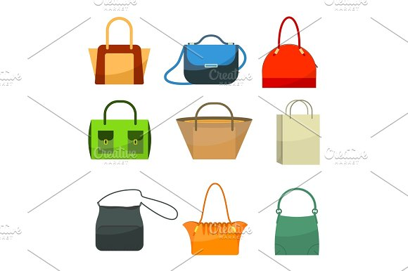 Ladies bags icons flat design isolated on white. Colorful accessories -  Illustrations 2bbb866fb1