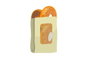 Bagels with poppy and sesame seeds in paper package design