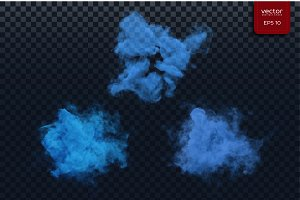 Vector blue smoky shapes