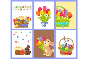 Set of Happy Easter with Flowers and Sweet Dessert