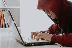 hacker with pirate laptop