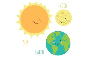 Cute smiling cartoon characters of Sun, Earth and Moon