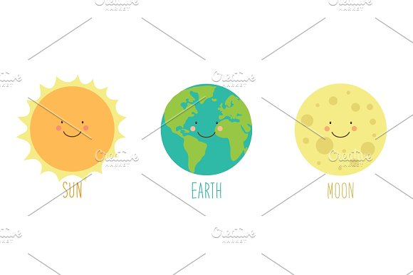 Cute Smiling Cartoon Characters Of Sun Earth And Moon