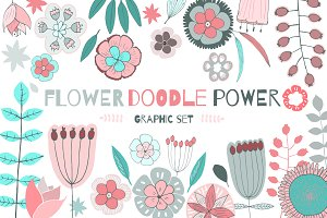 FLOWER doodle POWER Vector Set