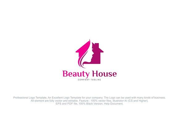 Beauty Salon House Logo Template